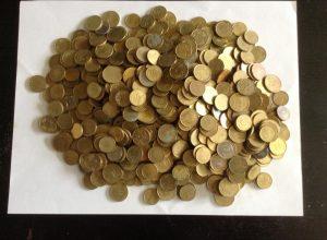 euromunten gevonden op het strand