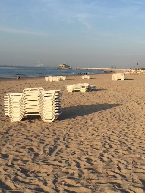 Het Blankenbergse strand na een zonnige dag